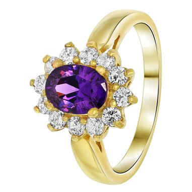 Goldplated ring amethyst met zirkonia