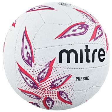 Mitre netbal Pursue rubber wit/paars/rood maat 5