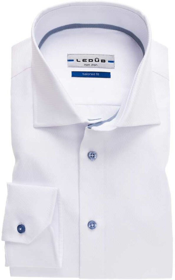 Ledûb Heren overhemd dobby widespread tailored fit wit