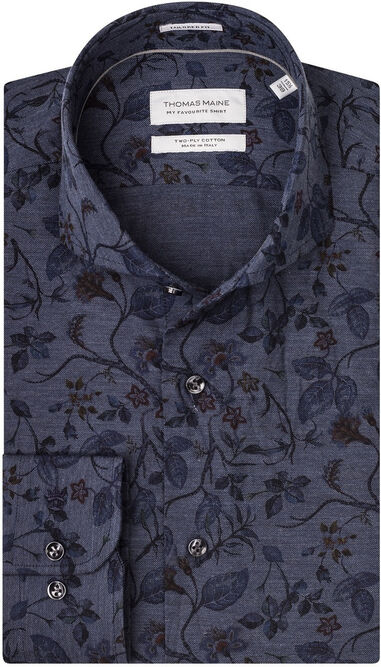 Thomas Maine Heren overhemd bari flowers cutaway tailored fit blauw