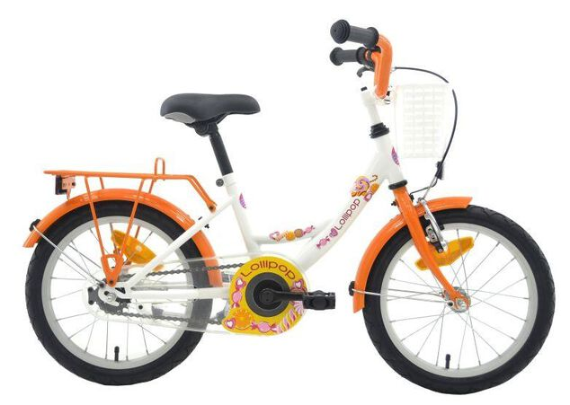 Bike Fun Lollipop 18 Inch Meisjes Terugtraprem Wit/Oranje