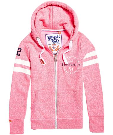 Superdry - Dames Hoodies Track and Field Ziphood Roze