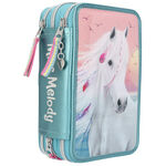 Miss Melody etui Summer Sun 20 cm polyester turquoise 44-delig