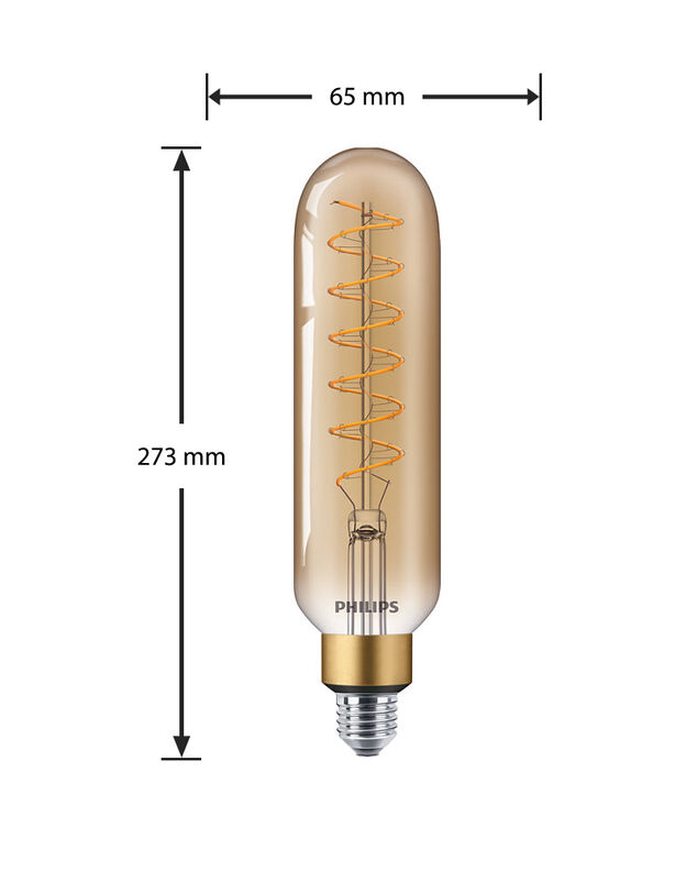 Philips Giant E27 LED Lamp 6,5-40W T65 Goud, Extra Warm Wit Dimbaar