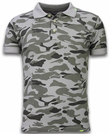 Bread & Buttons Camo polo shirt washed camouflage grijs