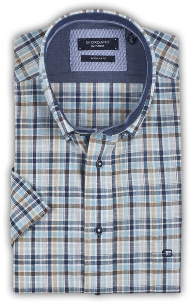 Giordano Blauw korte mouwen ruit button-down poplin regular fit