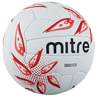 Mitre netbal Shooter rubber wit/rood maat 4