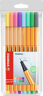Fineliners Stabilo Point 88 pastel 8 stuks