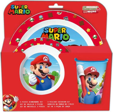 Nintendo serviesset Super Mario junior rood/wit 3-delig