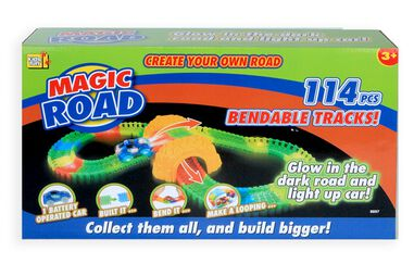 Jonotoys racebaanset Magic Road Glow in the Dark 114-delig