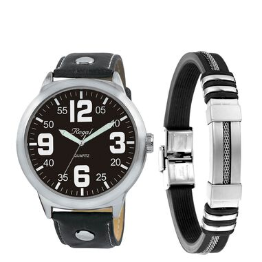 Stalen set armband rubber & regal horloge