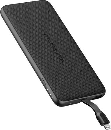 RAVPower Powerbank 5.000 mAh   Zwart  Ultra Dun Design  Extra Apple Lightning Kabel