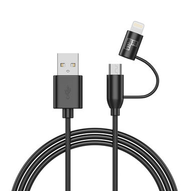 BeHello Charge and Sync 2-in-1 Lightning - Micro-USB Cable (1m) Black