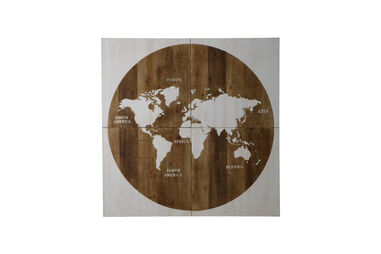 Wooden Map of the World 160x160x4cm