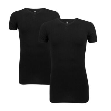 Cavello 2-Pack V-Hals T-shirts Stretch Zwart