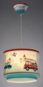 Dalber hanglamp Police glow in the dark 26,5 cm wit/blauw/rood