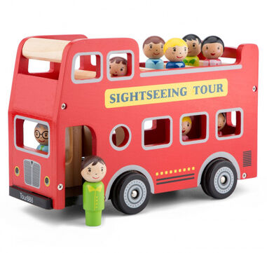 New Classic Toys city-tour bus Little Driver hout rood 2-delig