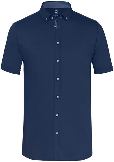 Desoto Heren overhemd jersey plain button-down slim fit