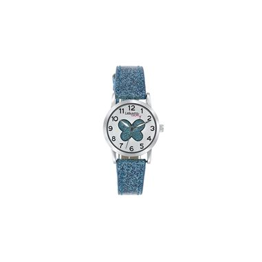 Little Miss Lovely horloge met blauwe glitter band