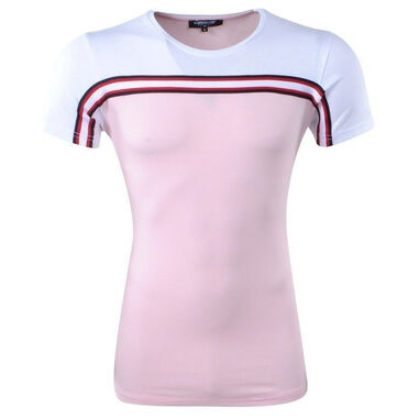 Carisma heren t-shirt ronde hals slim fit wit - roze
