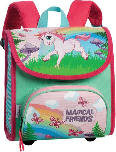 schooltas Magical Friends roze/groen 8,5 liter