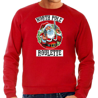 Grote maten foute Kerstsweater / Kerst trui Northpole roulette rood voor heren - Kerstkleding / Christmas outfit