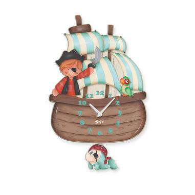 Dekori wandklok piratenboot junior 25 x 40 cm hout