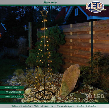 Boom/ster 90l/180cm led warm wit 5m aanloopsnoer/ip44 Led Outdoor
