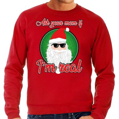 Foute Kersttrui / sweater - ask your mom ? am real - rood voor heren - kerstkleding / kerst outfit