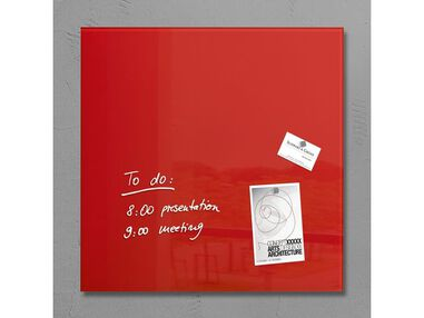 glasmagneetbord Sigel Artverum 480x480x15mm rood